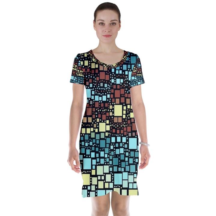 Block On Block, Aqua Short Sleeve Nightdress