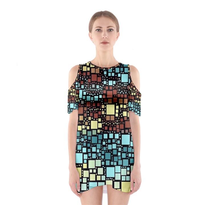 Block On Block, Aqua Cutout Shoulder Dress