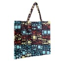 Block On Block, Aqua Zipper Large Tote Bag View2