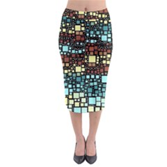 Block On Block, Aqua Midi Pencil Skirt