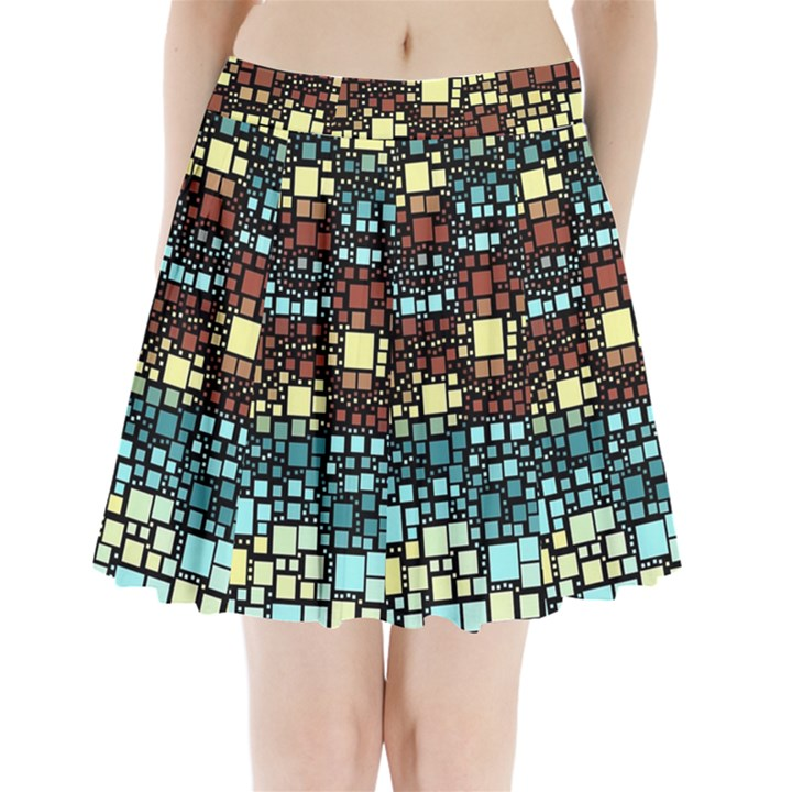Block On Block, Aqua Pleated Mini Skirt