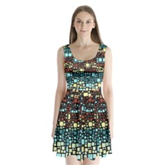 Block On Block, Aqua Split Back Mini Dress
