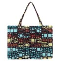 Block On Block, Aqua Medium Zipper Tote Bag View1