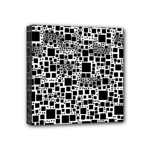 Block On Block, B&w Mini Canvas 4  X 4  by MoreColorsinLife