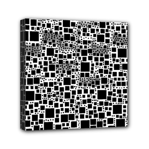 Block On Block, B&w Mini Canvas 6  X 6  by MoreColorsinLife