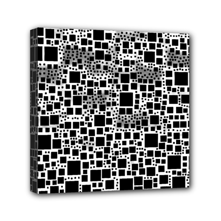 Block On Block, B&w Mini Canvas 6  x 6