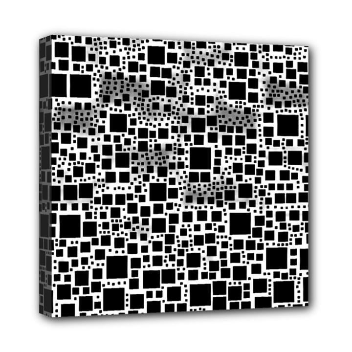 Block On Block, B&w Mini Canvas 8  x 8
