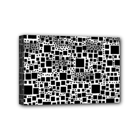 Block On Block, B&w Mini Canvas 6  X 4  by MoreColorsinLife