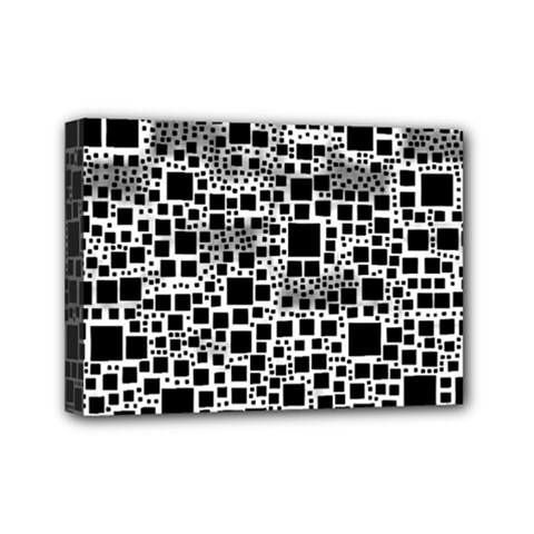 Block On Block, B&w Mini Canvas 7  X 5  by MoreColorsinLife