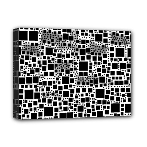 Block On Block, B&w Deluxe Canvas 16  X 12   by MoreColorsinLife