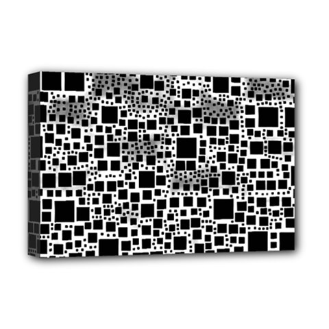 Block On Block, B&w Deluxe Canvas 18  X 12   by MoreColorsinLife