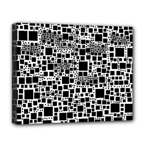 Block On Block, B&w Deluxe Canvas 20  X 16   by MoreColorsinLife