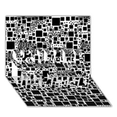 Block On Block, B&w You Are Invited 3d Greeting Card (7x5) by MoreColorsinLife