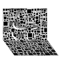 Block On Block, B&w Clover 3d Greeting Card (7x5) by MoreColorsinLife