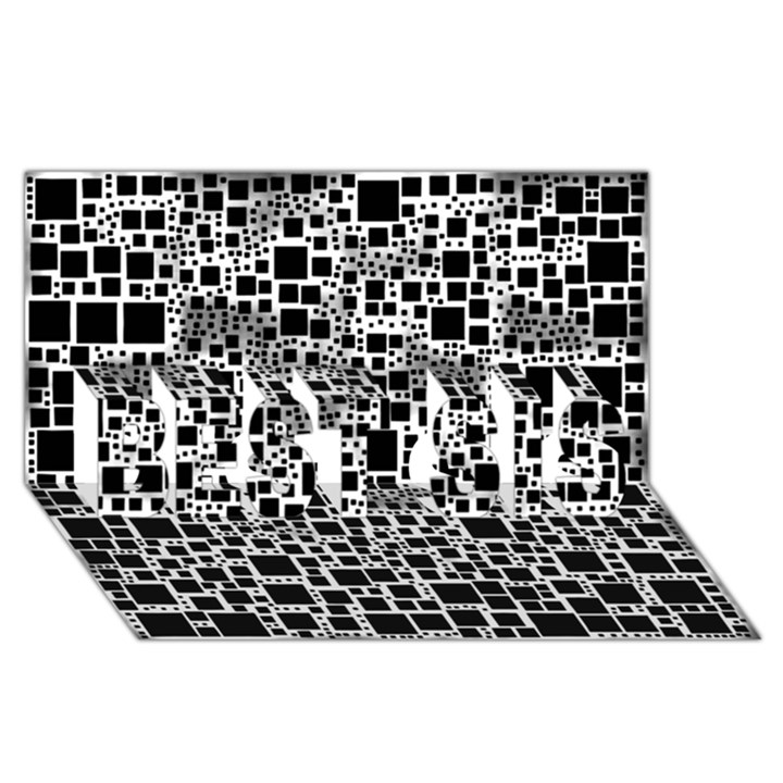 Block On Block, B&w BEST SIS 3D Greeting Card (8x4)