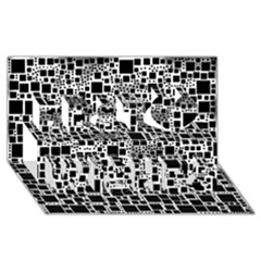 Block On Block, B&w Best Wish 3d Greeting Card (8x4) by MoreColorsinLife