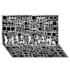 Block On Block, B&w Engaged 3d Greeting Card (8x4)