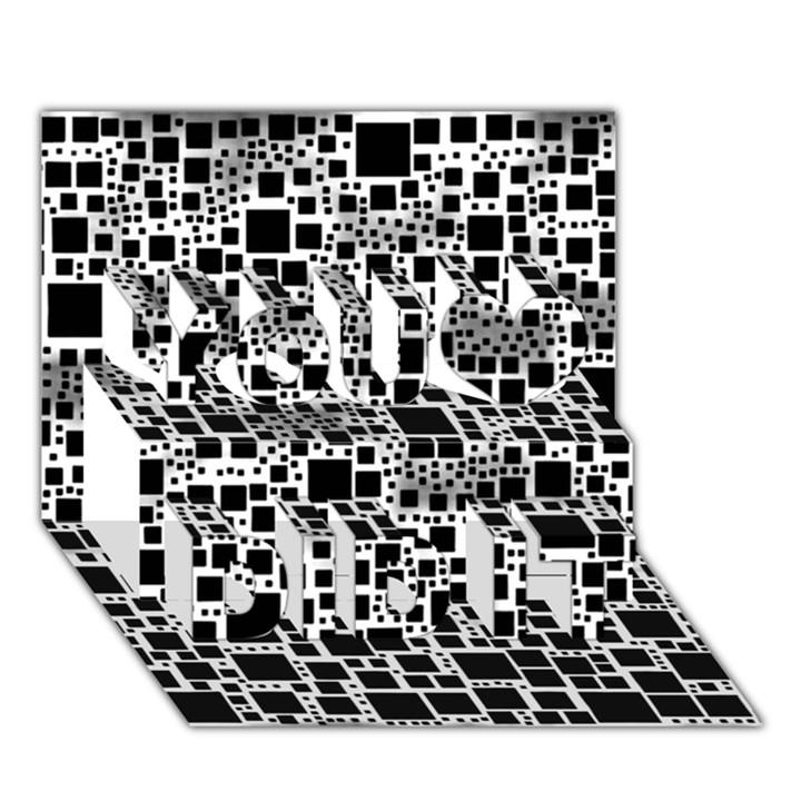Block On Block, B&w You Did It 3D Greeting Card (7x5)