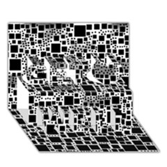 Block On Block, B&w Get Well 3d Greeting Card (7x5) by MoreColorsinLife