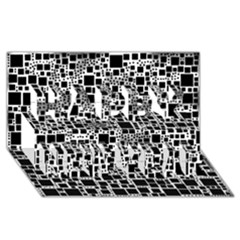 Block On Block, B&w Happy New Year 3d Greeting Card (8x4) by MoreColorsinLife