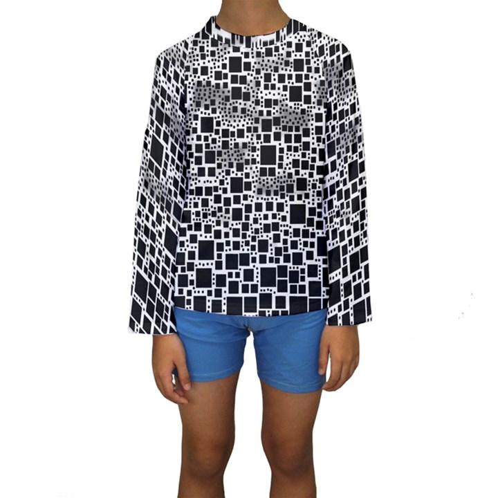 Block On Block, B&w Kids  Long Sleeve Swimwear