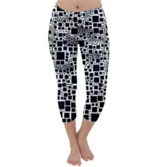 Block On Block, B&w Capri Winter Leggings  by MoreColorsinLife