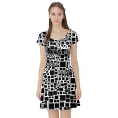 Block On Block, B&w Short Sleeve Skater Dress