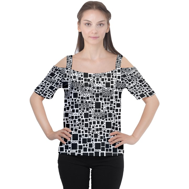 Block On Block, B&w Women s Cutout Shoulder Tee