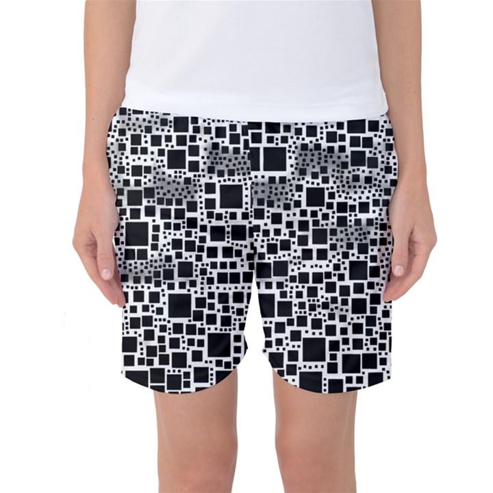 Block On Block, B&w Women s Basketball Shorts