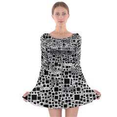Block On Block, B&w Long Sleeve Skater Dress by MoreColorsinLife