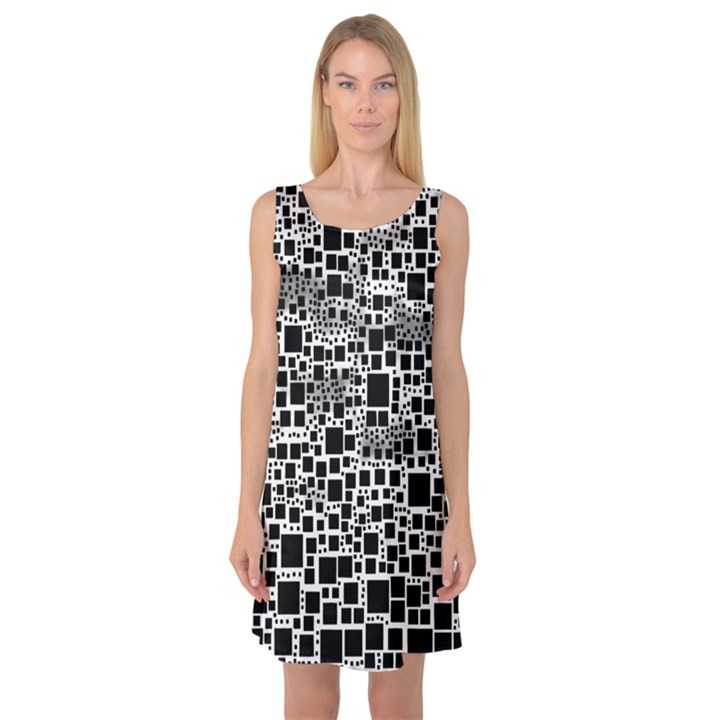 Block On Block, B&w Sleeveless Satin Nightdress