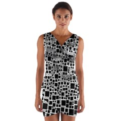 Block On Block, B&w Wrap Front Bodycon Dress