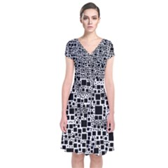 Block On Block, B&w Short Sleeve Front Wrap Dress by MoreColorsinLife