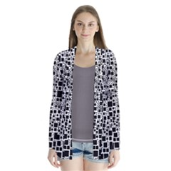 Block On Block, B&w Drape Collar Cardigan