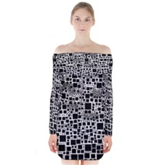 Block On Block, B&w Long Sleeve Off Shoulder Dress