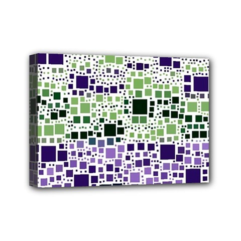 Block On Block, Purple Mini Canvas 7  X 5  by MoreColorsinLife