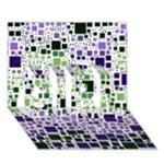 Block On Block, Purple GIRL 3D Greeting Card (7x5)