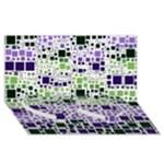Block On Block, Purple Twin Heart Bottom 3D Greeting Card (8x4)