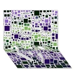Block On Block, Purple Love Bottom 3d Greeting Card (7x5)
