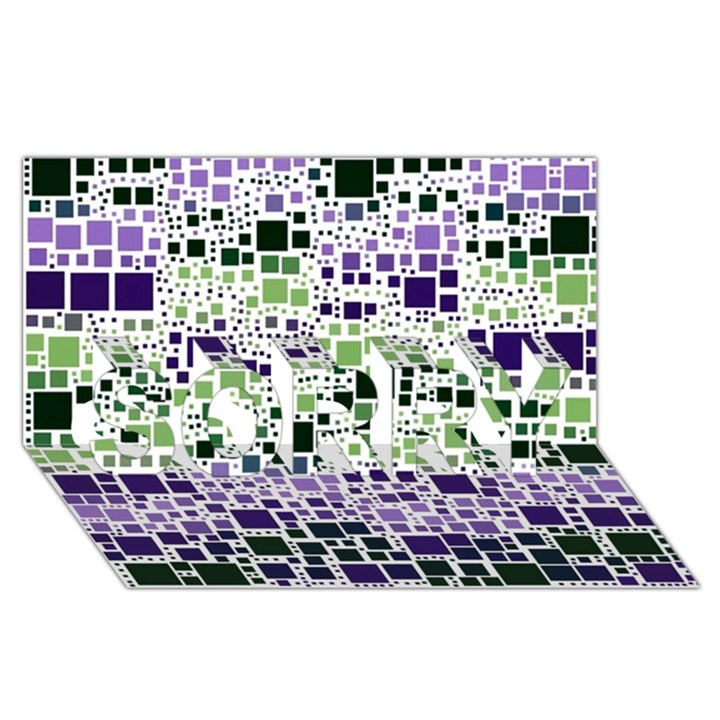 Block On Block, Purple SORRY 3D Greeting Card (8x4)