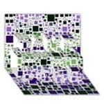 Block On Block, Purple TAKE CARE 3D Greeting Card (7x5)