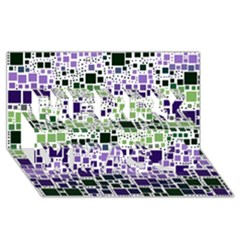 Block On Block, Purple Merry Xmas 3d Greeting Card (8x4) by MoreColorsinLife