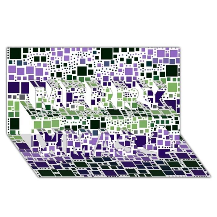 Block On Block, Purple Merry Xmas 3D Greeting Card (8x4)