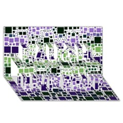Block On Block, Purple Laugh Live Love 3d Greeting Card (8x4) by MoreColorsinLife