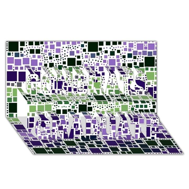 Block On Block, Purple Congrats Graduate 3D Greeting Card (8x4)