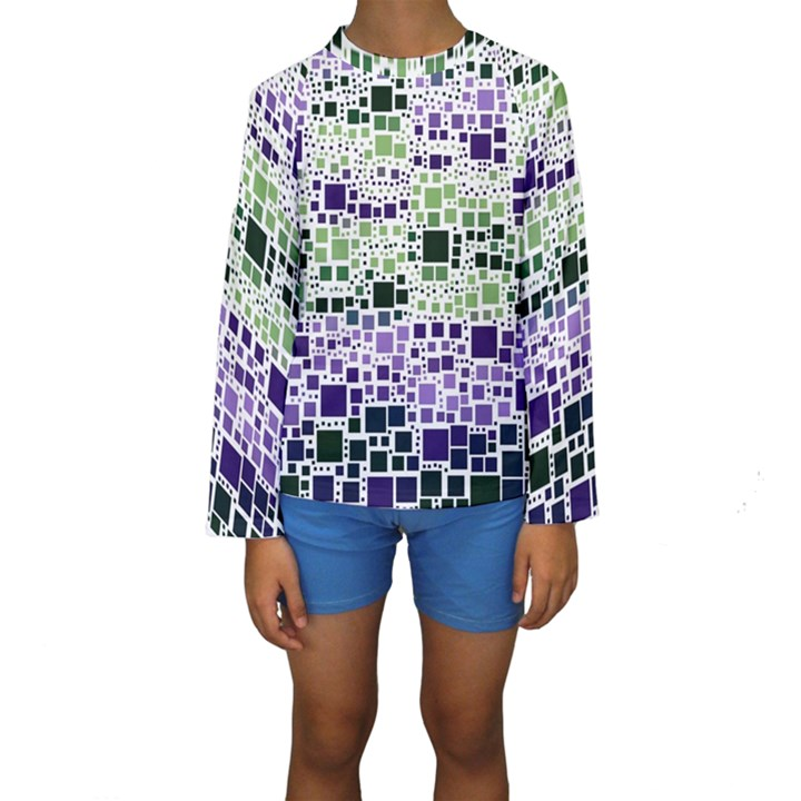 Block On Block, Purple Kids  Long Sleeve Swimwear