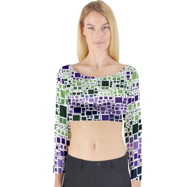 Block On Block, Purple Long Sleeve Crop Top