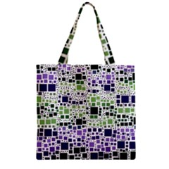 Block On Block, Purple Zipper Grocery Tote Bag by MoreColorsinLife