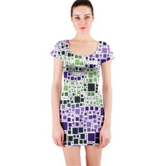 Block On Block, Purple Short Sleeve Bodycon Dress
