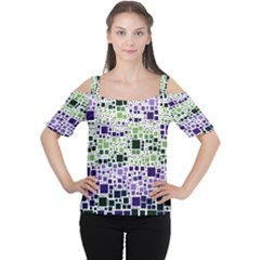 Block On Block, Purple Women s Cutout Shoulder Tee by MoreColorsinLife
